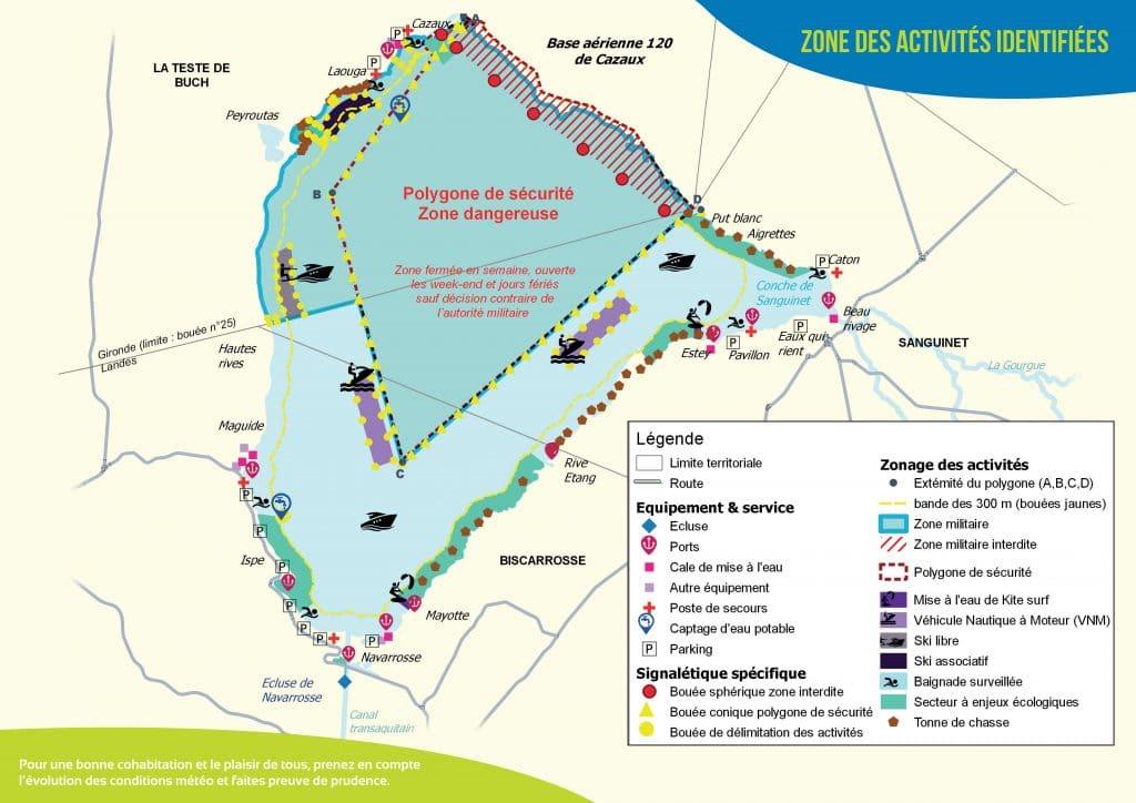 Plan de navigation du Lac de Cazaux